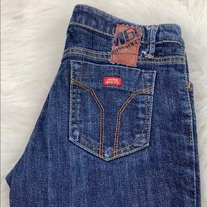 Miss Sixty dark wash extra low boot cut jean